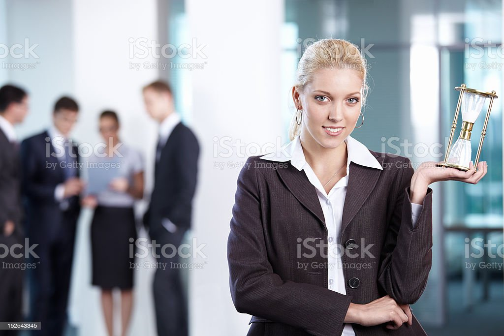 Business woman hourglass royalty-free stock photo