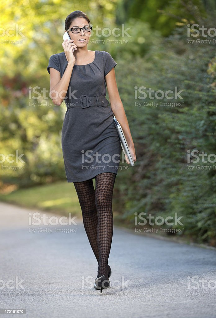 Business Woman in a Hurry - Outdoor (XXXL) stock photo