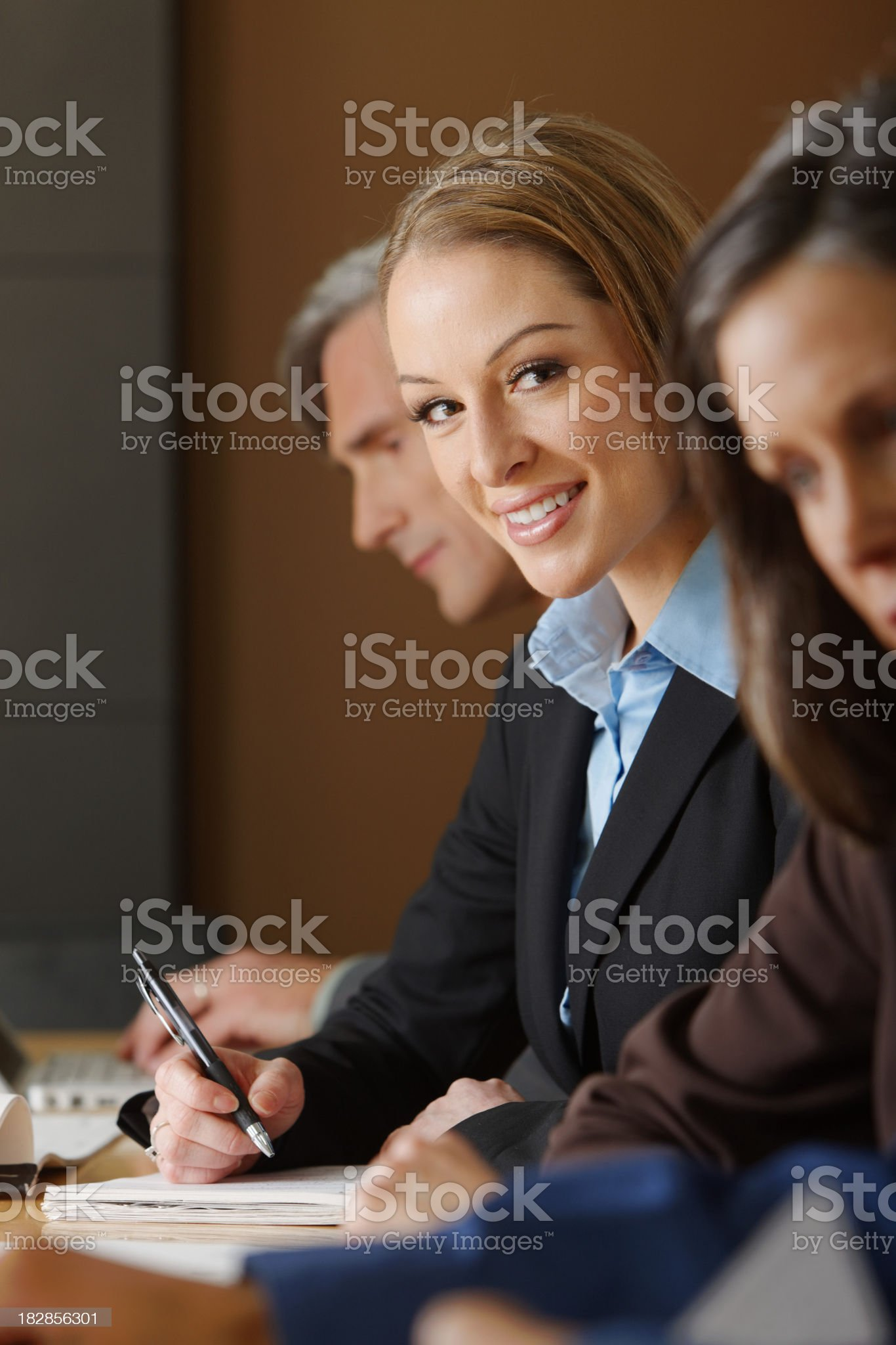 Business woman in a team meeting royalty-free stock photo