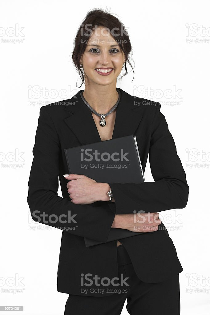 Business Woman in black suit holding File royalty-free stock photo