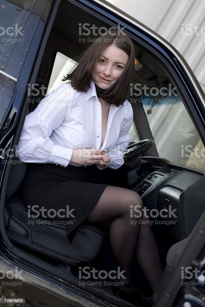 business woman in  car royalty-free stock photo
