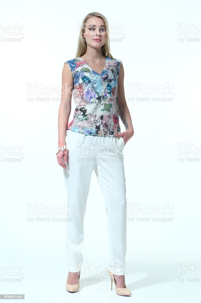 business woman in casual clothes stock photo