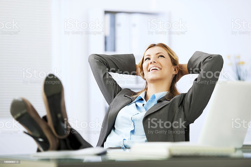 Business woman in daydreaming. stock photo