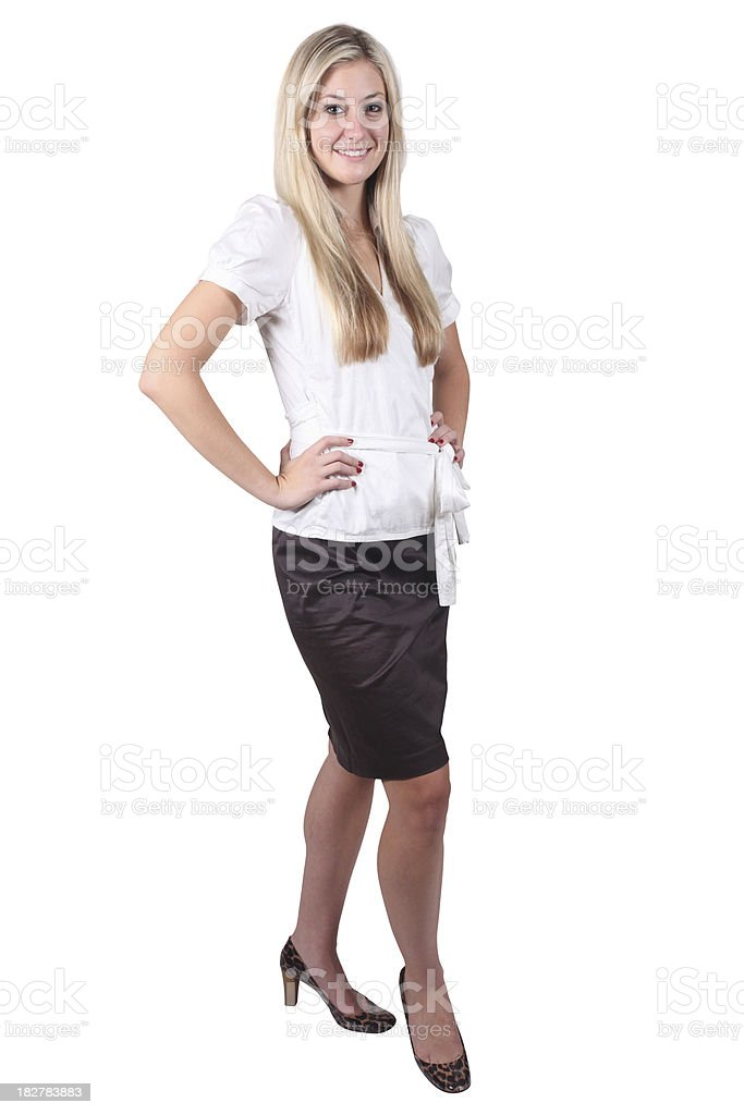 Business woman in leopard heels royalty-free stock photo