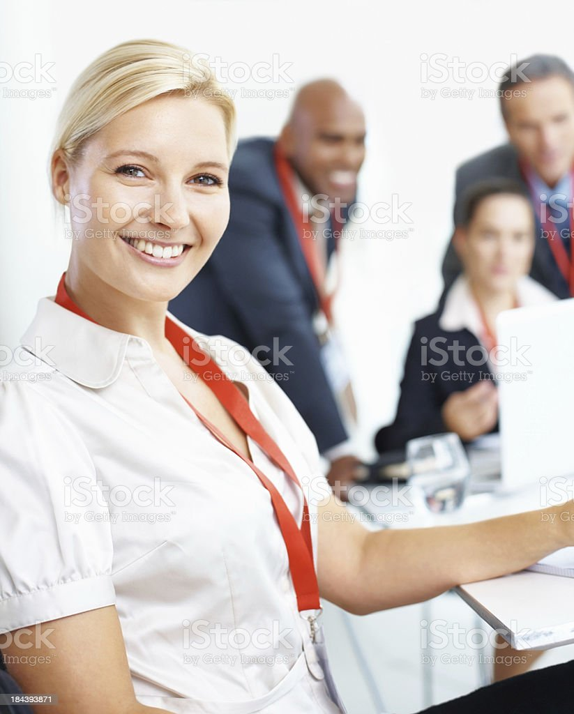 Business woman in meeting royalty-free stock photo