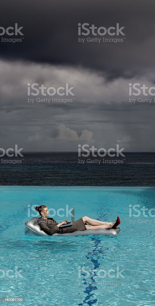 Business woman in pool royalty-free stock photo