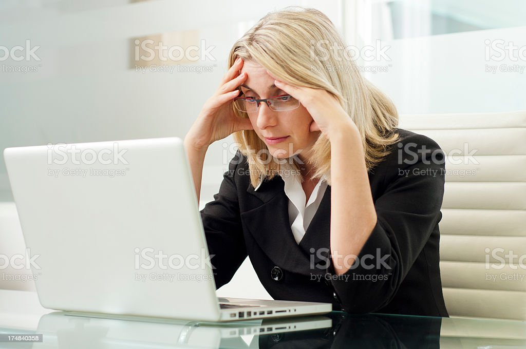 Business woman in problems frustrated stock photo