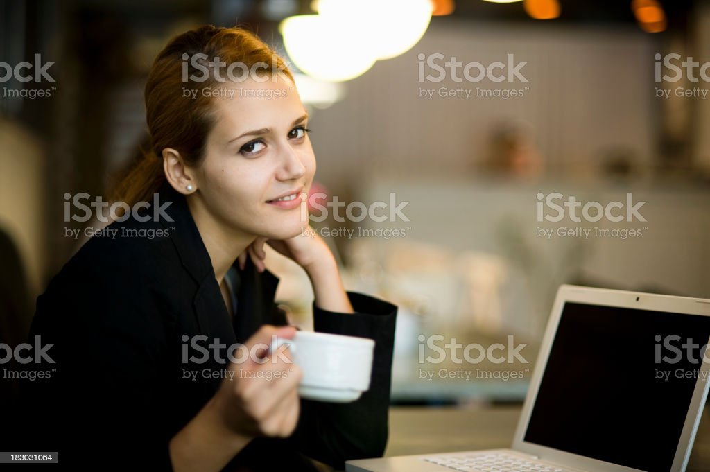 Business Woman in The Cafe royalty-free stock photo
