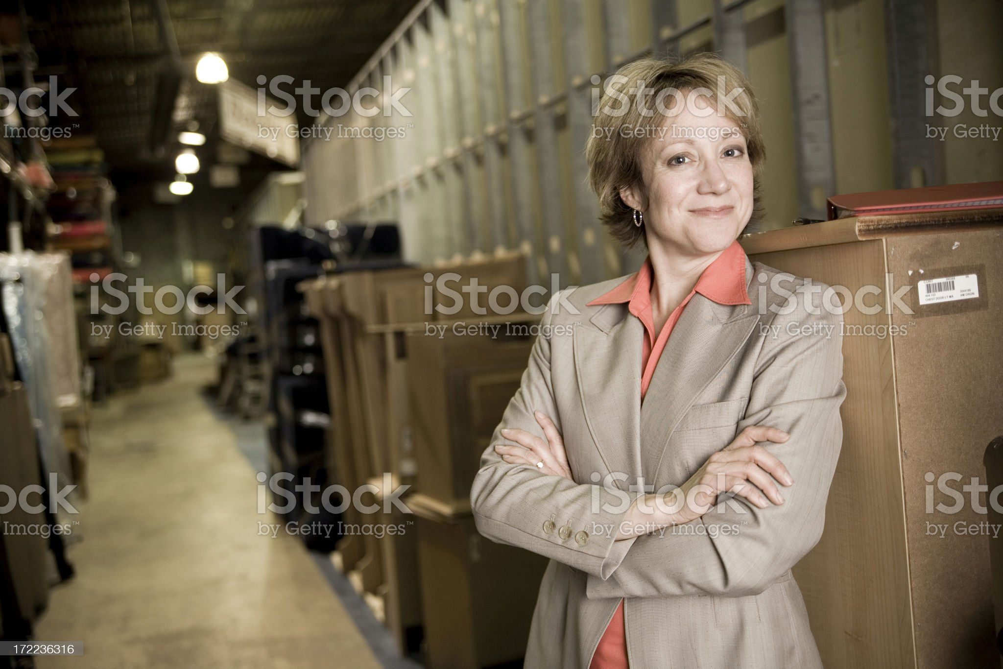 Business woman in warehouse royalty-free stock photo
