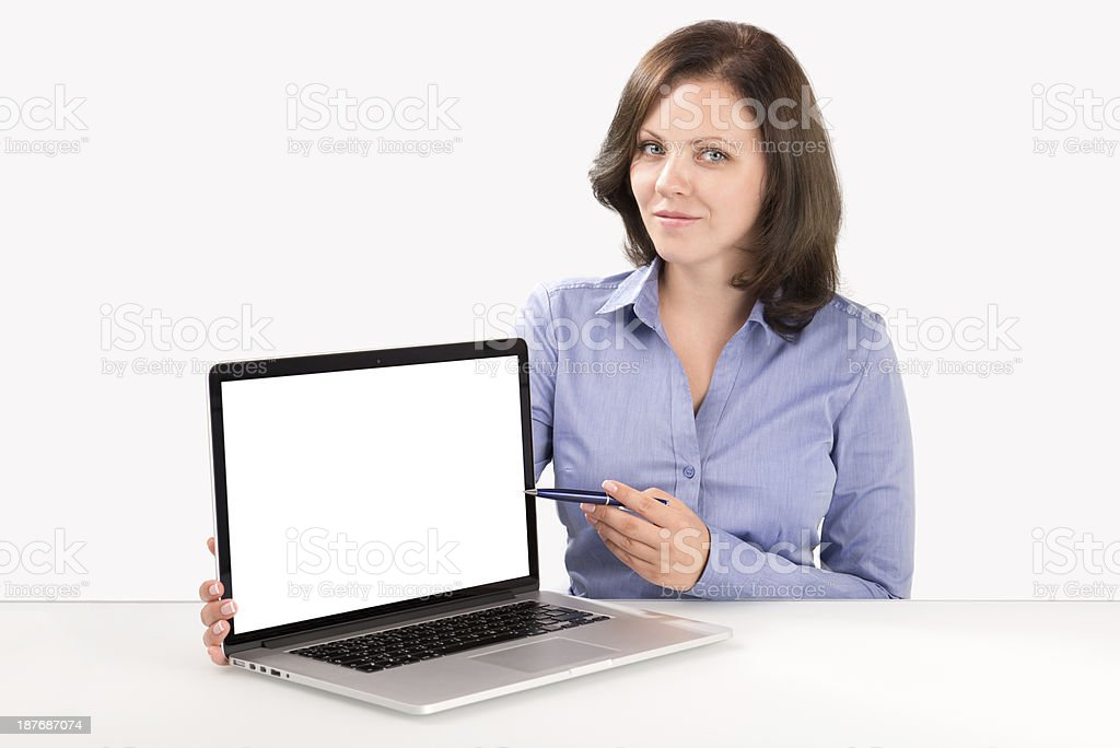 Business woman is demonstrating something on the laptop screen stock photo