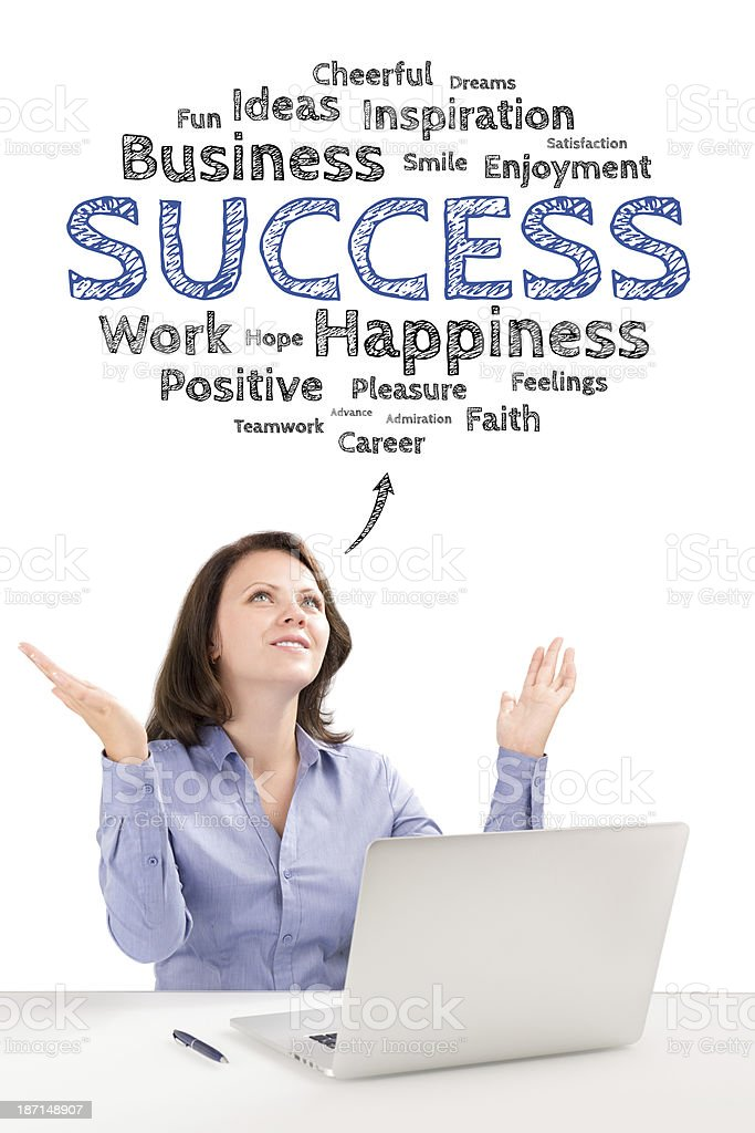 Business woman is sitting under success emotions bubble royalty-free stock photo