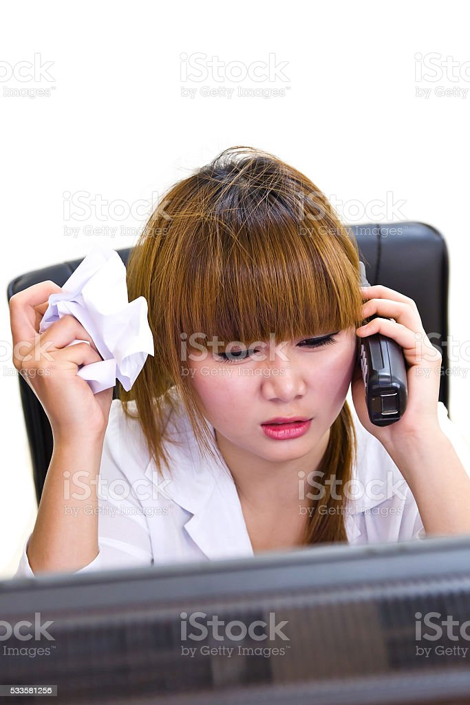 business woman is speaking stock photo