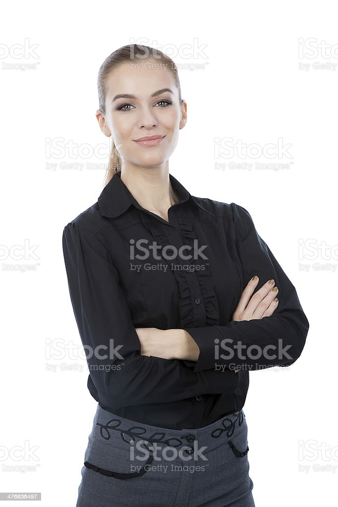 Business woman isolated on white. Arms crossed. royalty-free stock photo