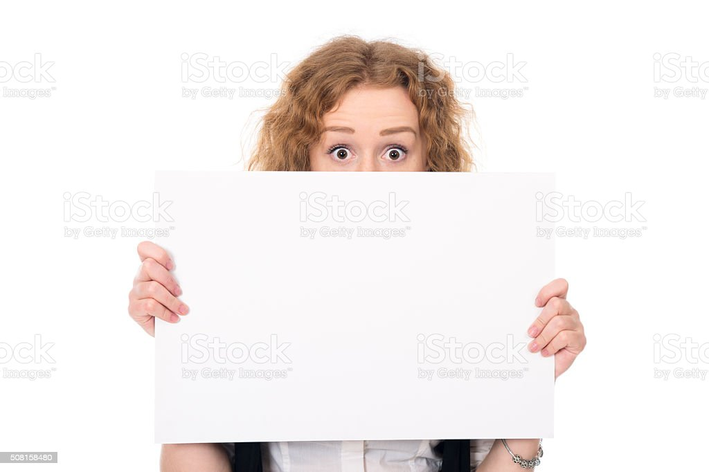 Business woman isolated portrait . Girl show big blank board stock photo