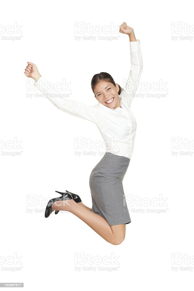 Business woman jumping in success stock photo