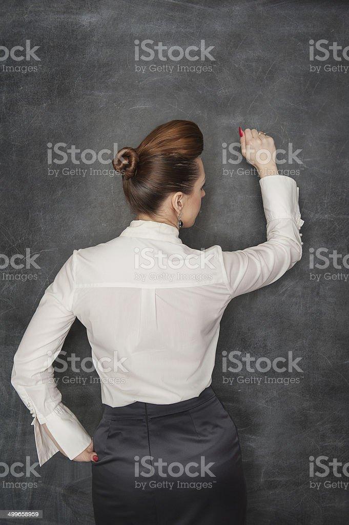 Business woman knock stock photo