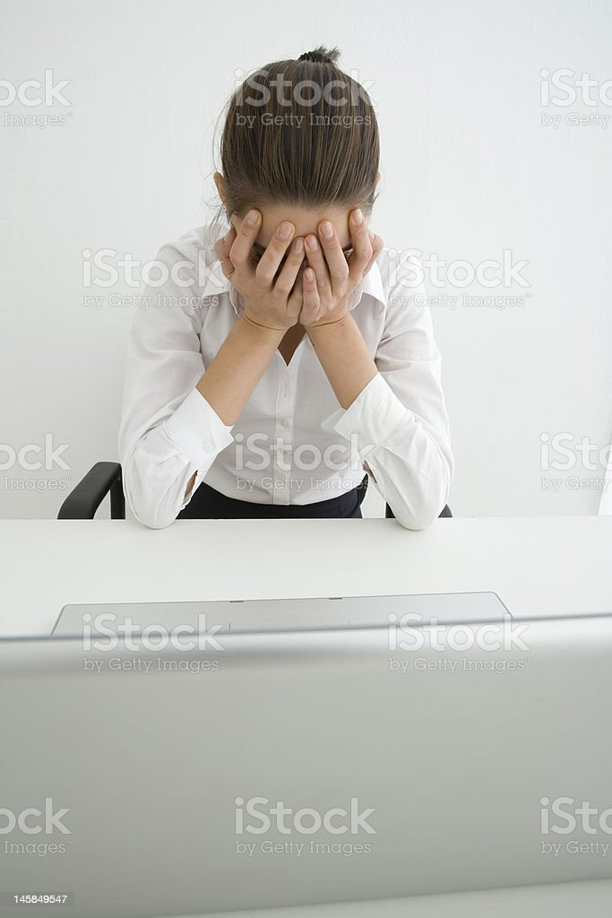business woman laptop worried royalty-free stock photo