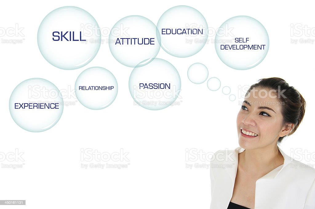 Business woman looking at self development plan stock photo