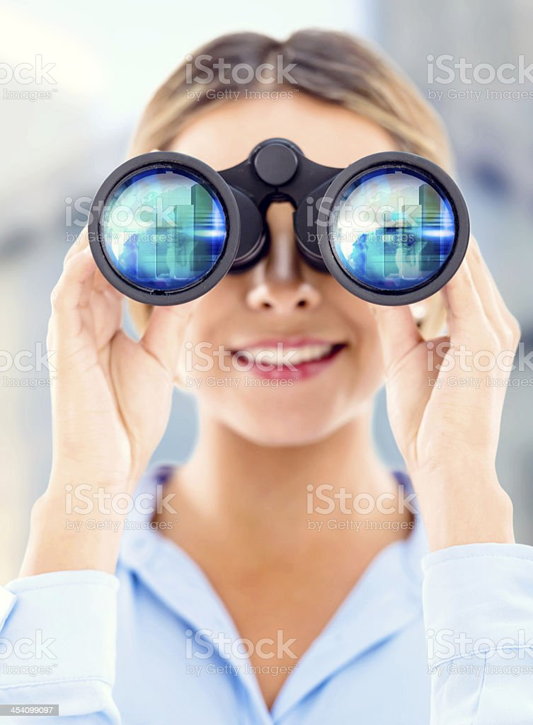 Business woman looking at success stock photo