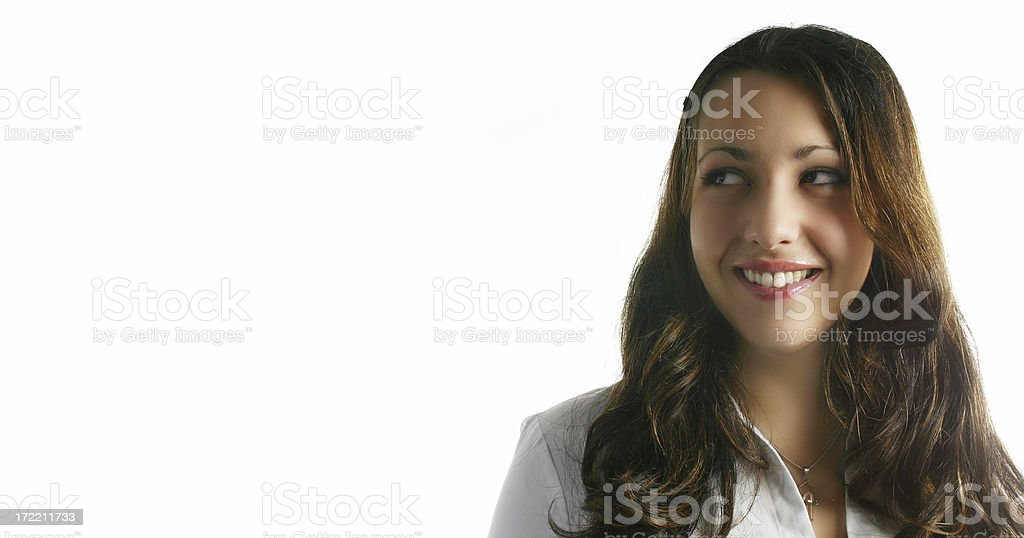Business woman looking left stock photo