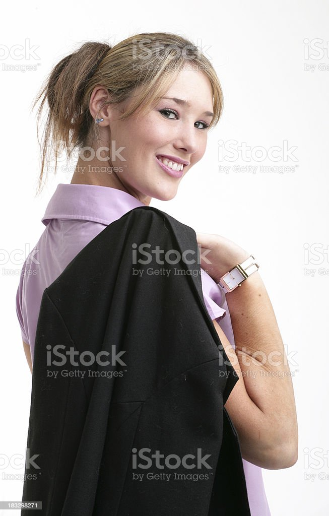 Business woman looking over shoulder royalty-free stock photo