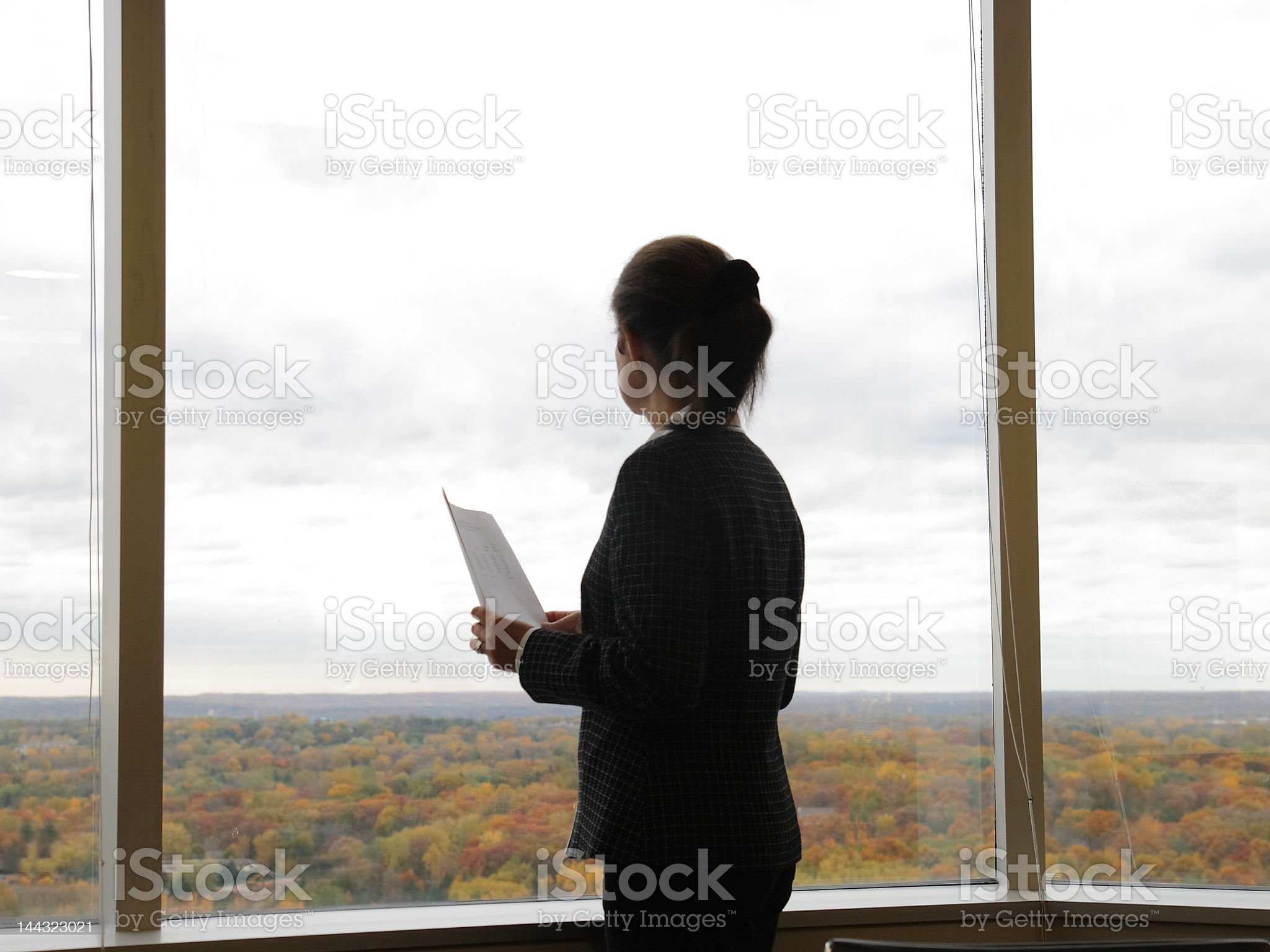 Business woman looking through the window of the the office royalty-free stock photo