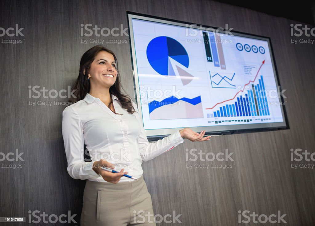 Business woman making a presentation stock photo
