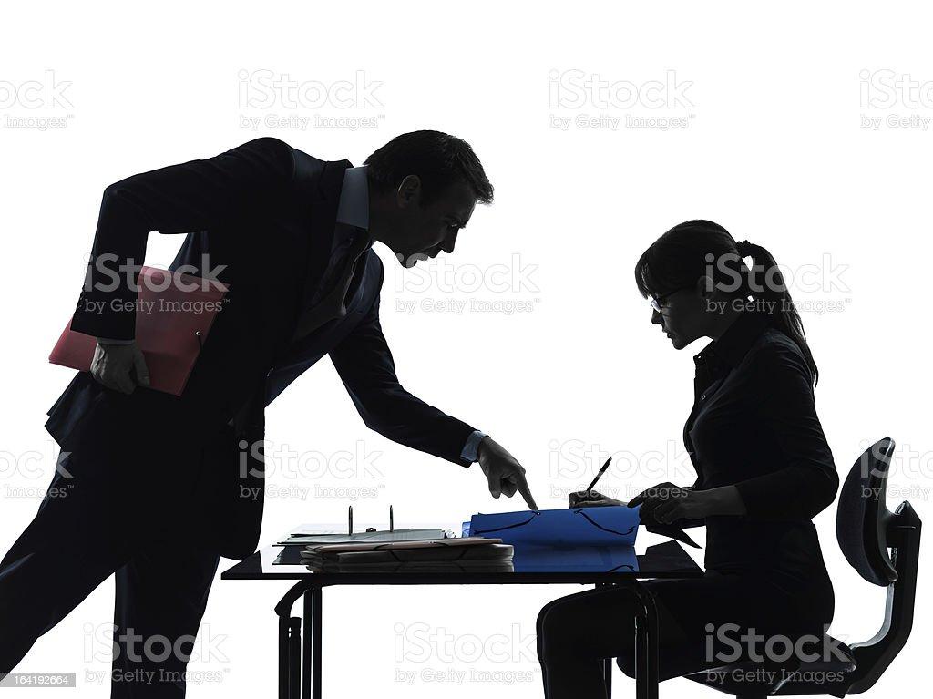 business woman man couple silhouette stock photo