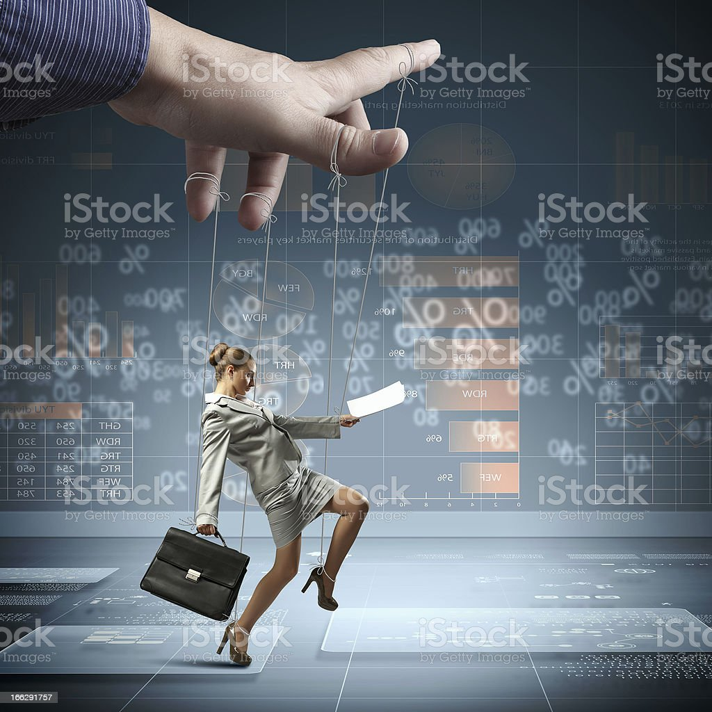 Business woman marionette stock photo