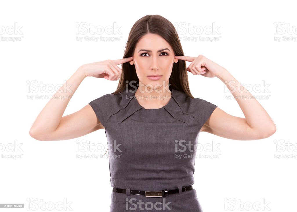 business woman not listening stock photo