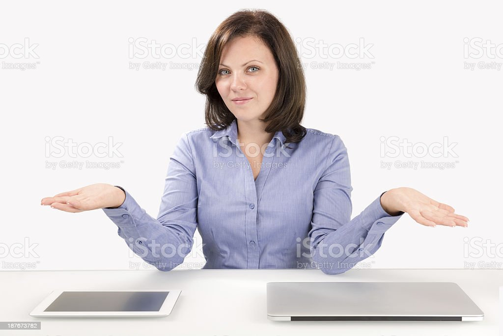Business woman offers to make choice stock photo