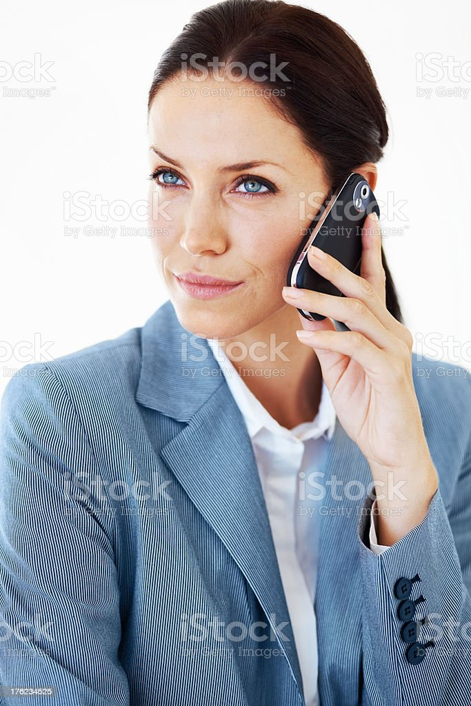 Business woman on call stock photo