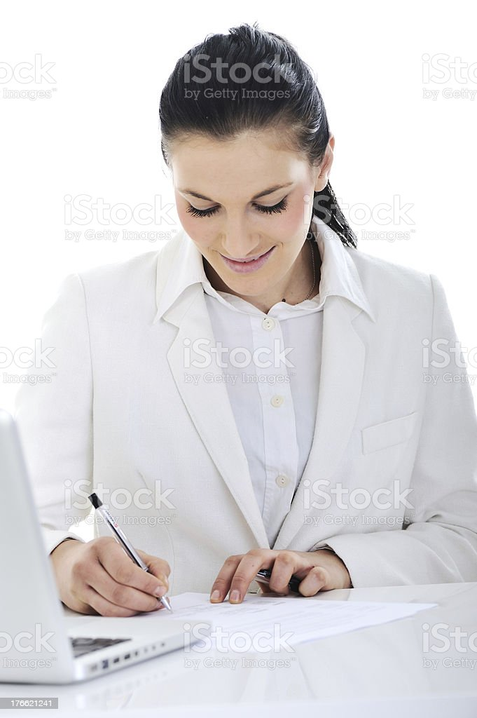Business woman on desk signing documents royalty-free stock photo