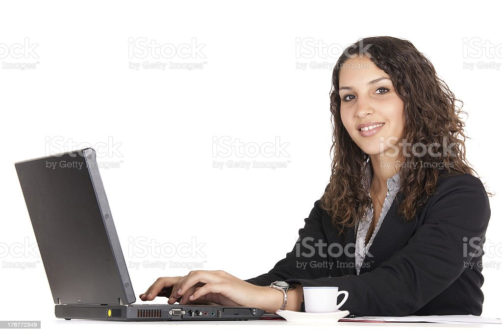 business woman on laptop royalty-free stock photo
