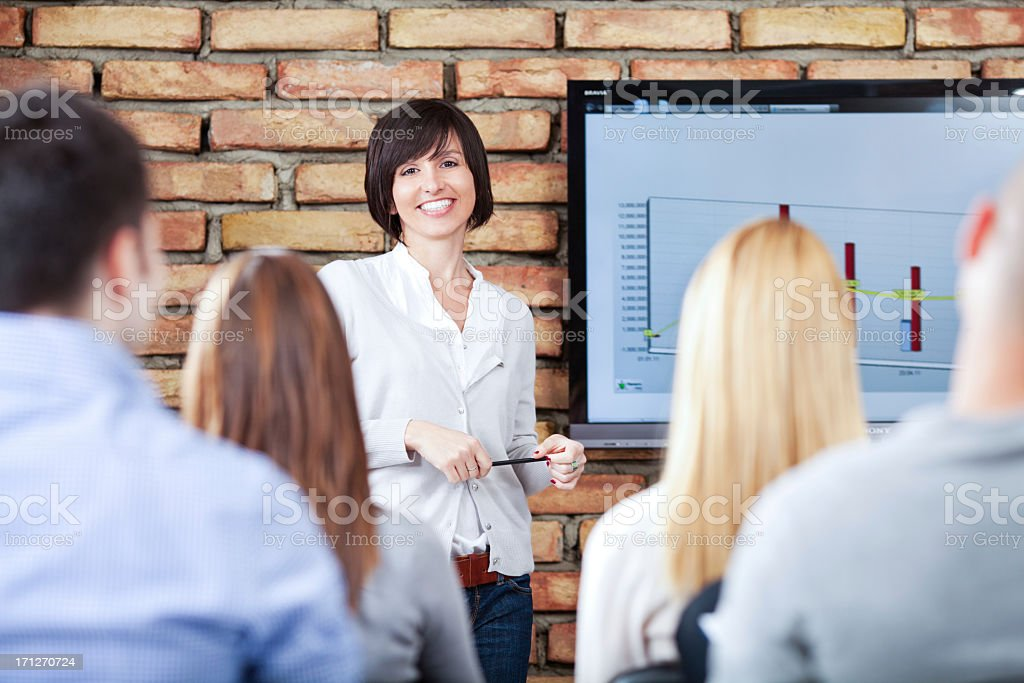 Business Woman on Presentation stock photo
