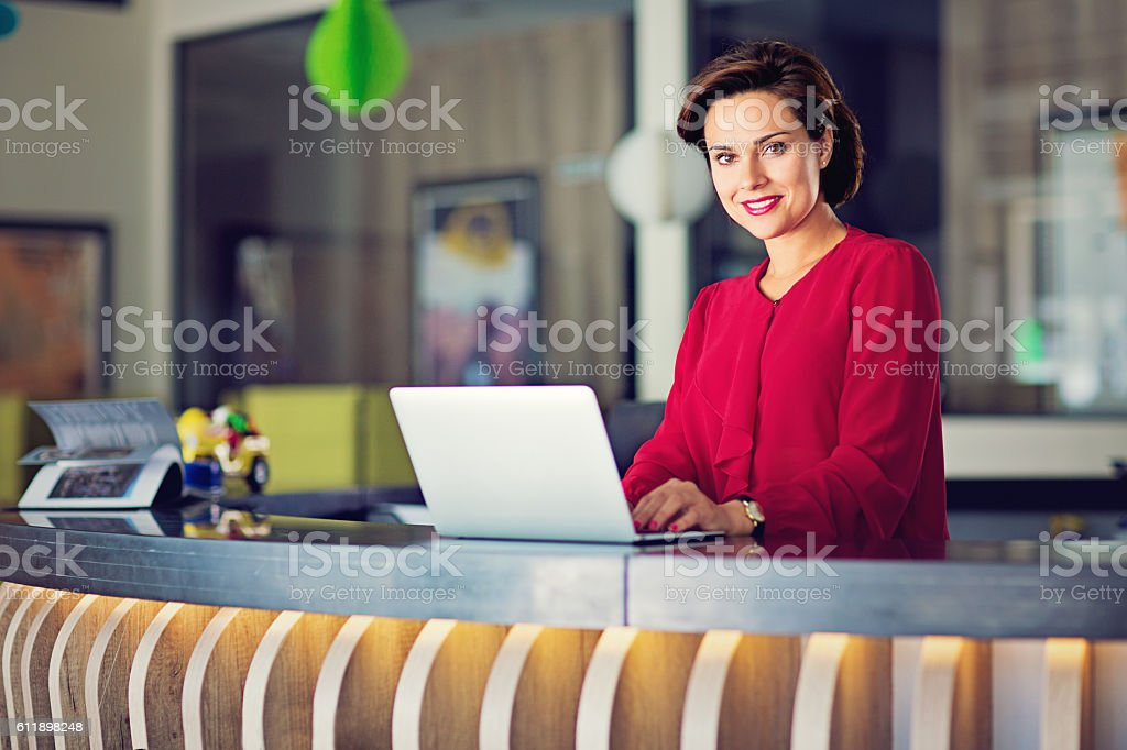 Business woman on the office desk stock photo