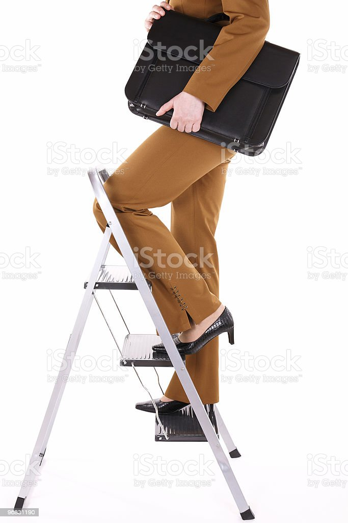 Business Woman on Top Ladder royalty-free stock photo