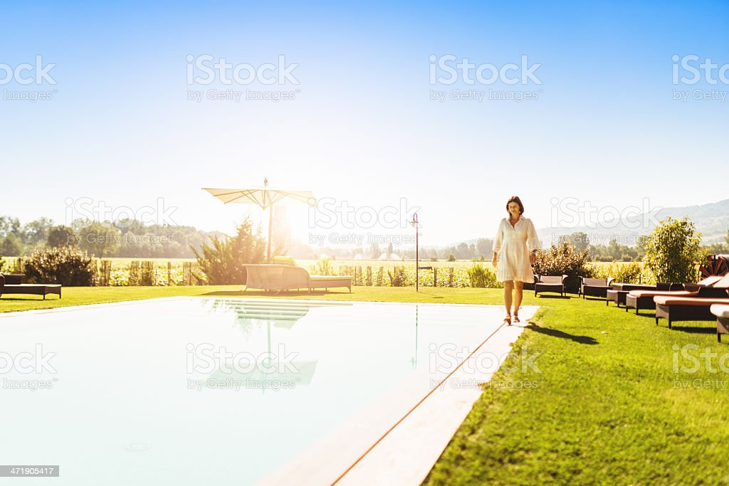 business woman on vacation at the resort royalty-free stock photo