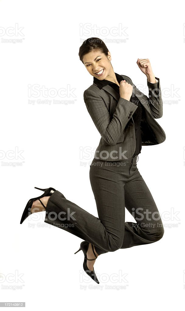 Business woman on white jumping royalty-free stock photo