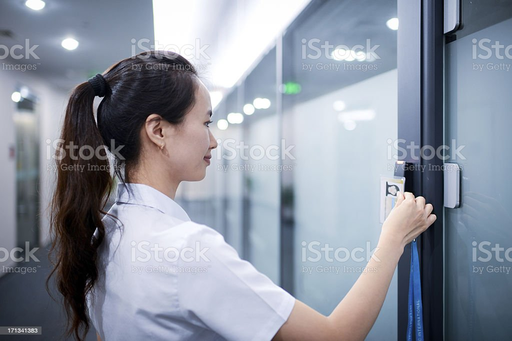 Business Woman Open The Office Door - XXXXXLarge stock photo