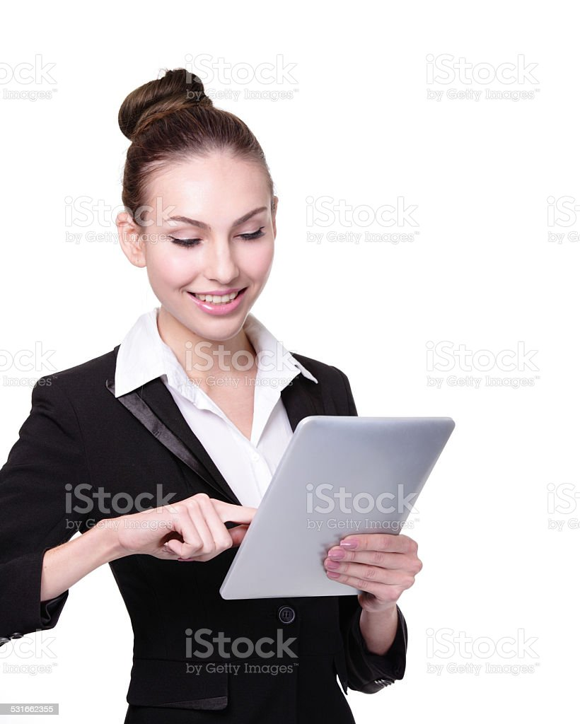 Business Woman or teacher using tablet pc stock photo