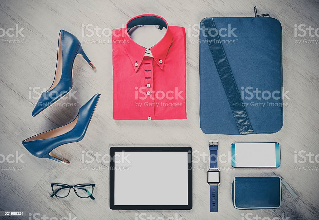 business woman outfit with comunication gadgets stock photo