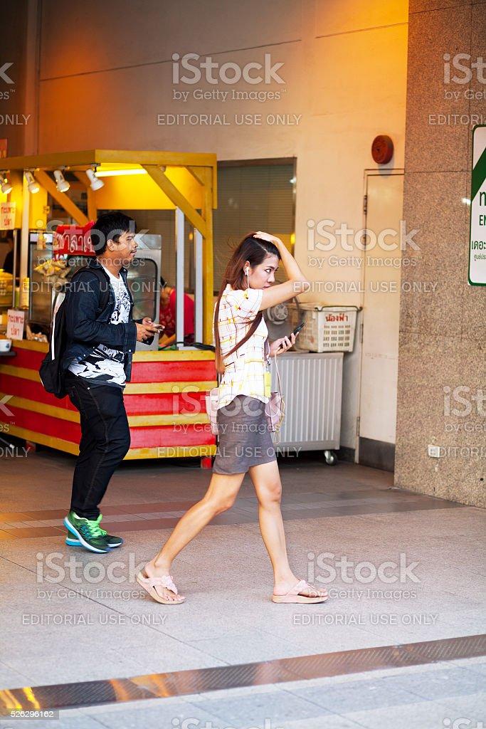 Business woman outside MRT station stock photo