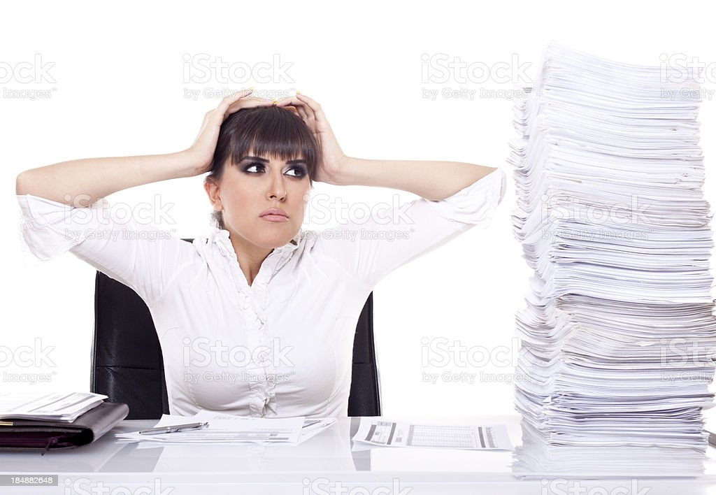Business woman over worked. stock photo