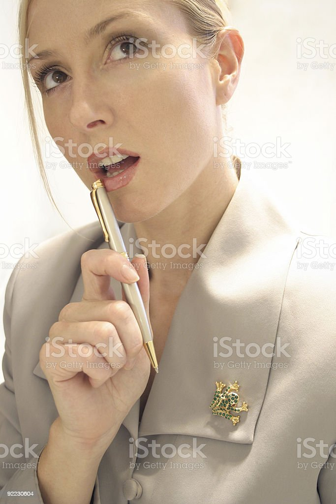 Business Woman - paused for thought stock photo
