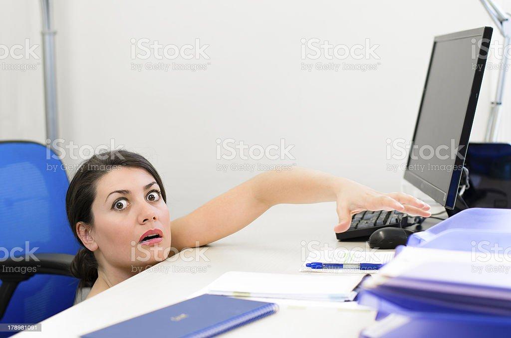 Business Woman Peeking royalty-free stock photo