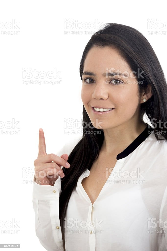Business Woman pointing at royalty-free stock photo