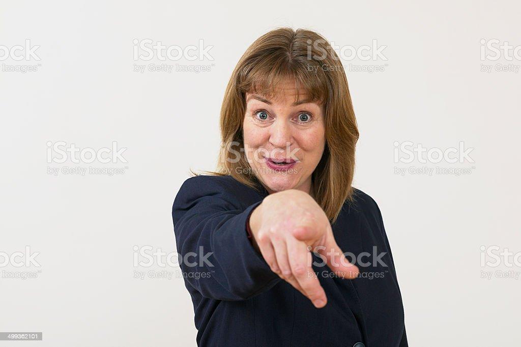 Femme d'affaires pointant du doigt photo libre de droits