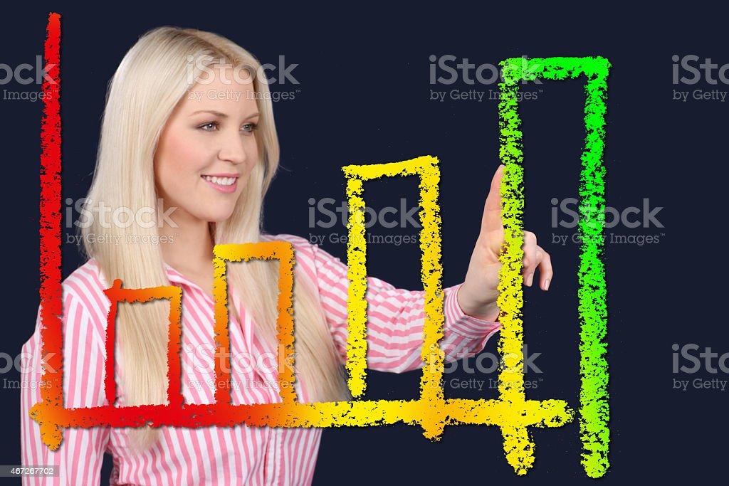 Business woman points at an ascendant curve stock photo