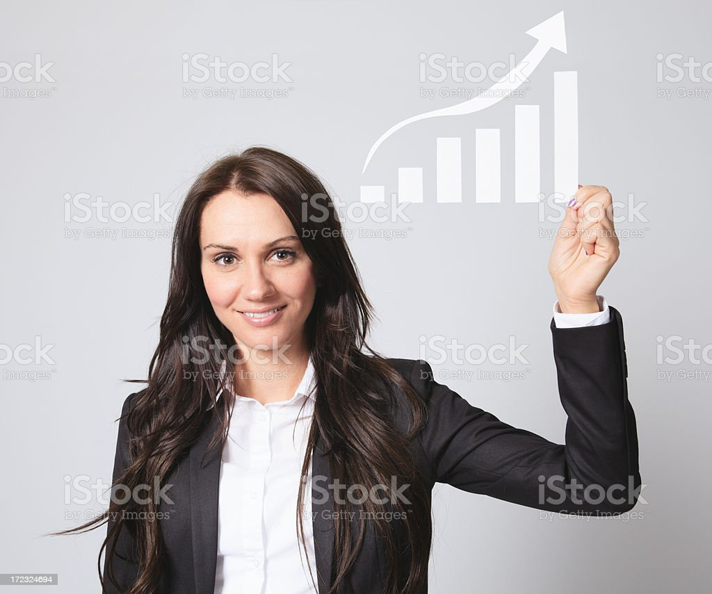 Business Woman Portrait - Holding Diagram Look royalty-free stock photo